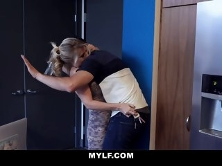 mylf - big dick stepson cums all over hot cougar stepmom